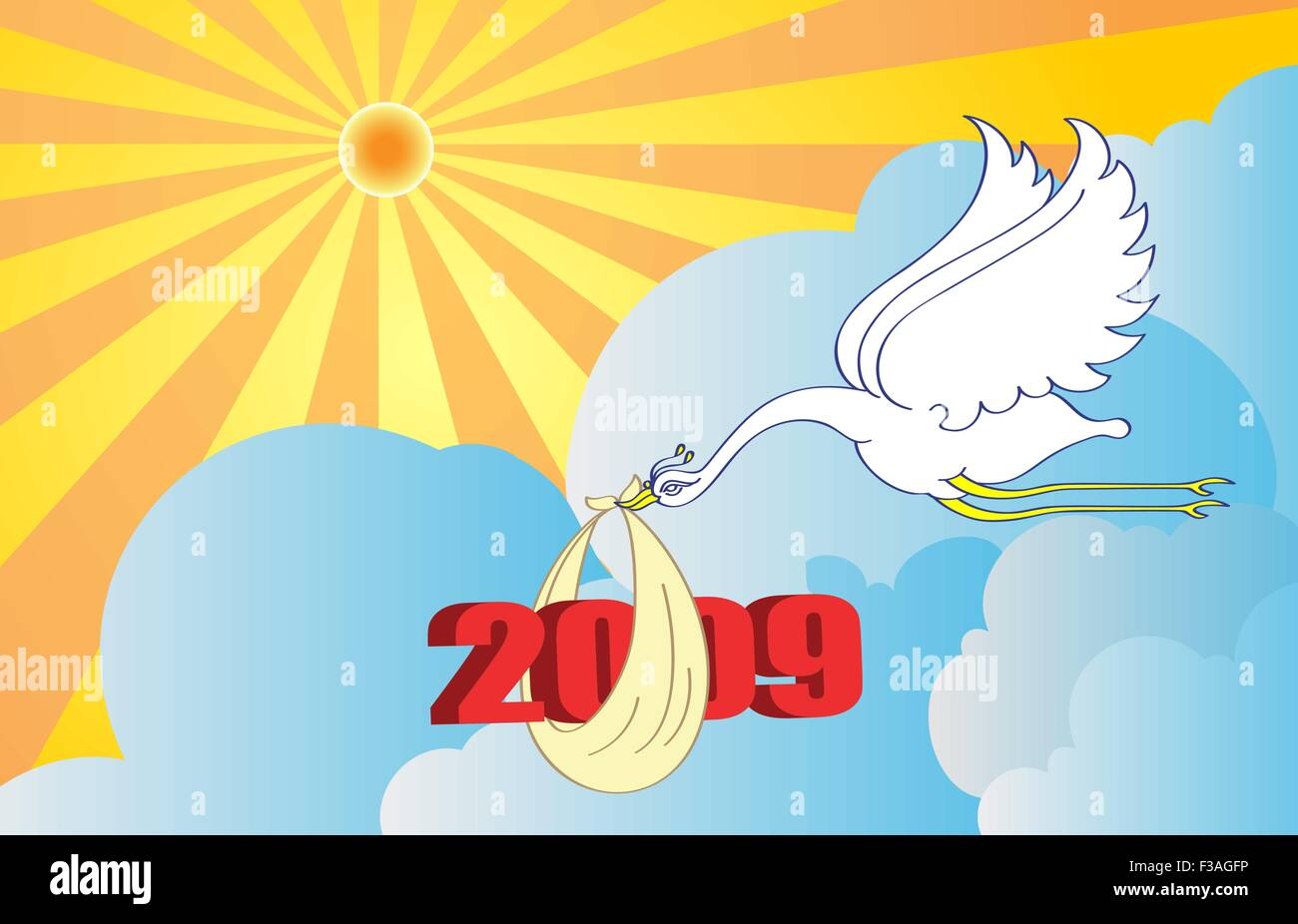 Bird Delivering Two Thousand Nine New Year Vector Art - Stock Vector
