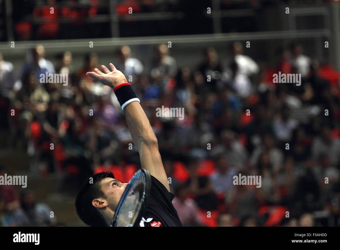 Bangkok, Thailand 02nd Oct 2015. Novak Djokovic of Serbia in actions during the Rafael Nadal v Novak Djokovic exhibition - Stock Image