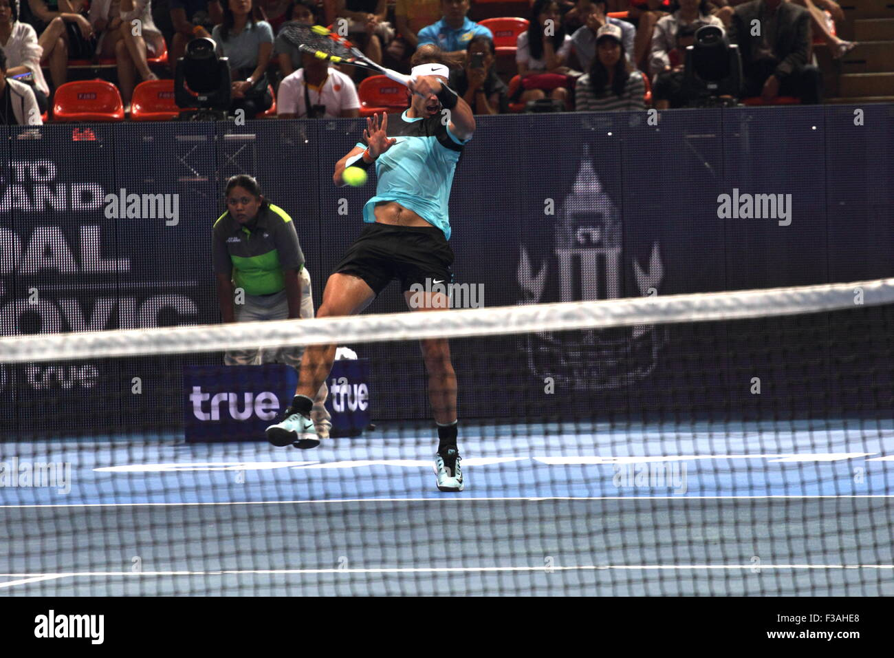 Bangkok, Thailand 02nd Oct 2015. Rafael Nadal of Spain in actions during the Rafael Nadal v Novak Djokovic exhibition - Stock Image
