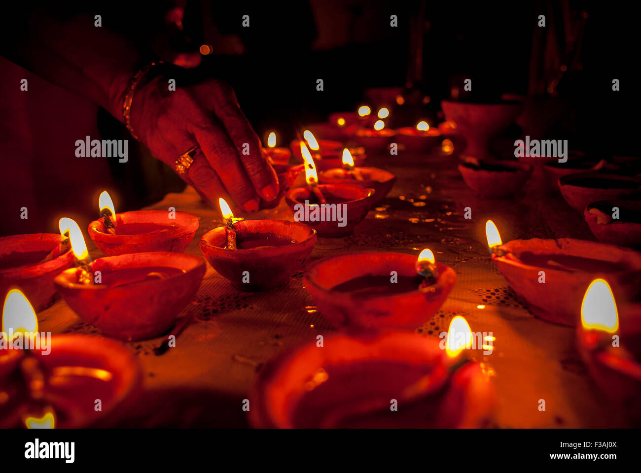 Lightening deyas for Diwali. - Stock Image