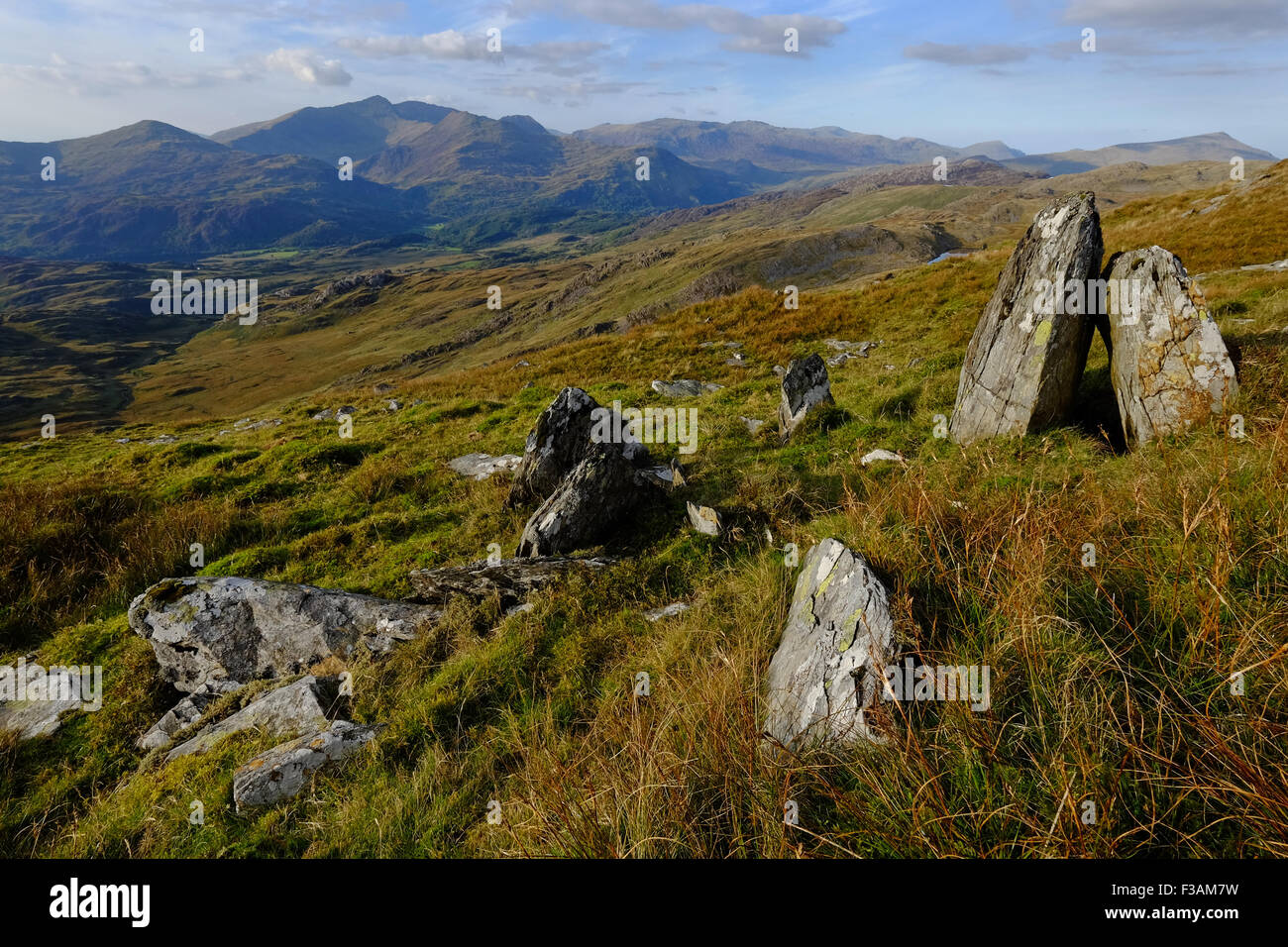 The Snowdon massif seen from Cnicht to the south Stock Photo