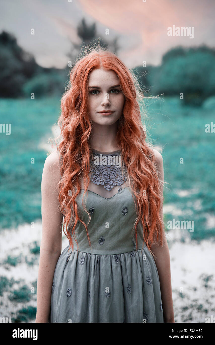 Beautiful ginger historical girl - Stock Image