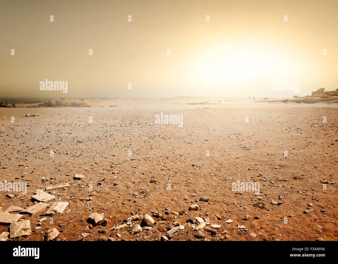 Sandy desert in Egypt at the sunset - Stock Image