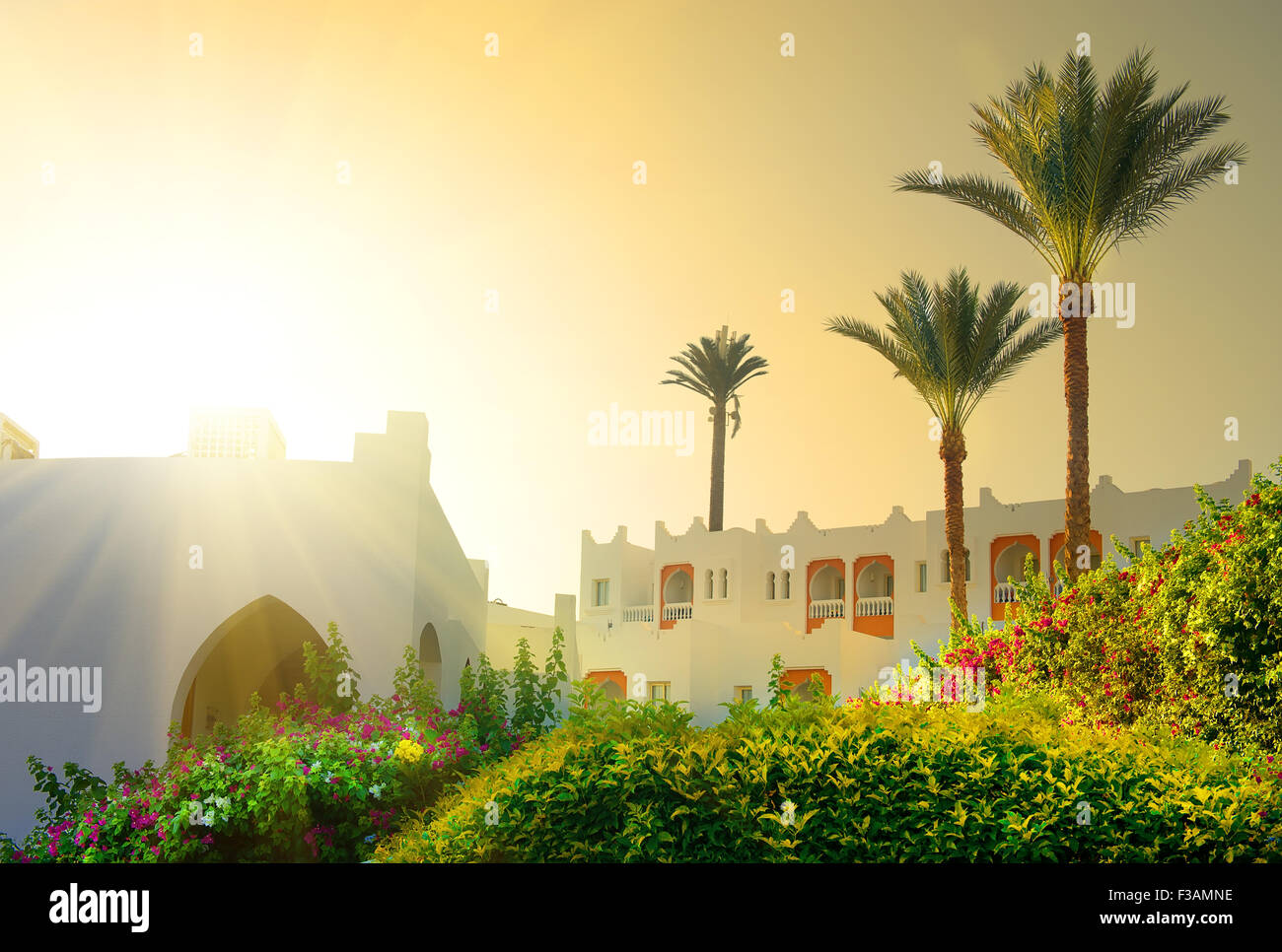 Bright morning sun in Egyptian resort hotel - Stock Image