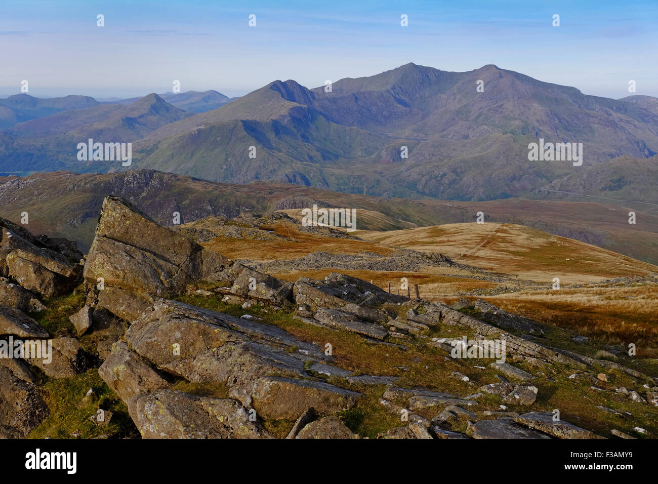 The Snowdon massif seen from Moel Siabod in Snowdonia, Wales Stock Photo