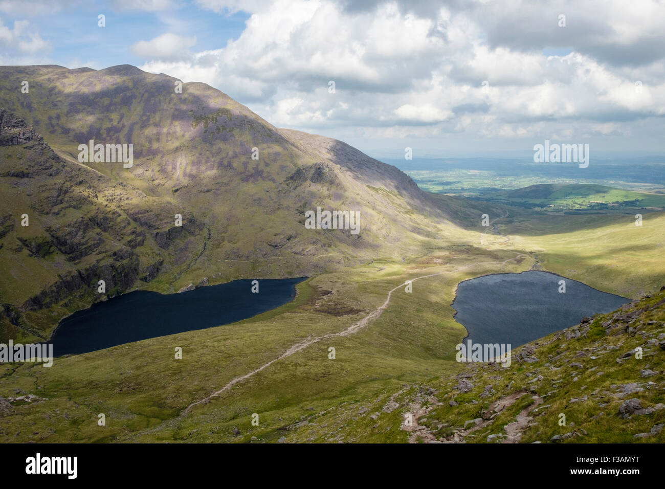 Path between Lough Gouragh and Lough Callee in Hags Glen seen from zig zags on Cnoc na Toinne in MacGillycuddy Reeks - Stock Image