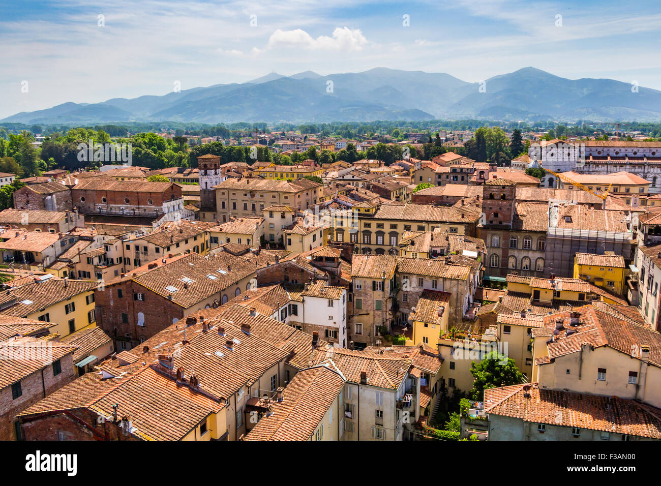 View over Italian town Lucca with typical terracotta roofs - Stock Image