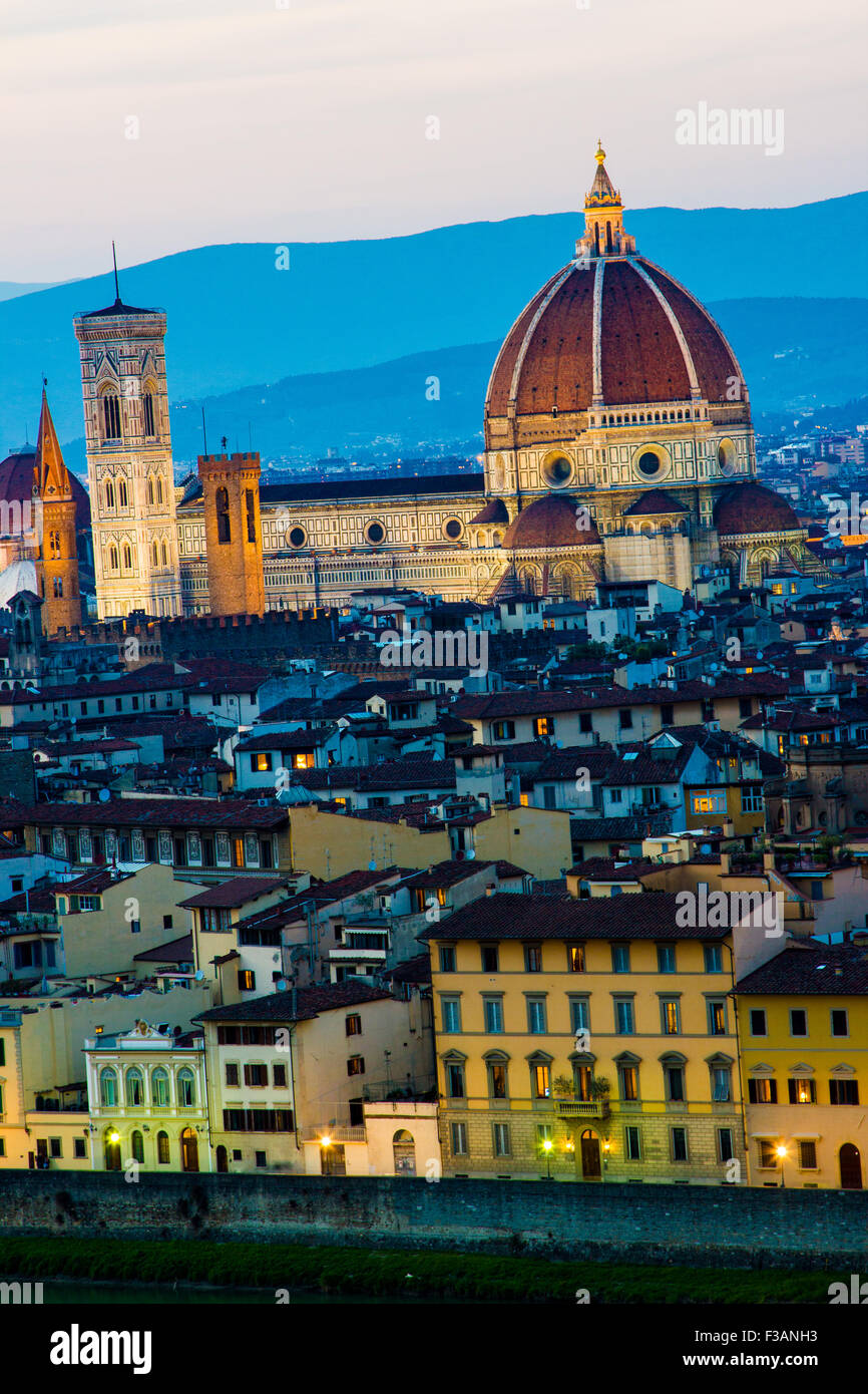 Florence, portrait view of the city center with cathedral of Santa Maria del Fiore and Brunelleschi Dome - Stock Image