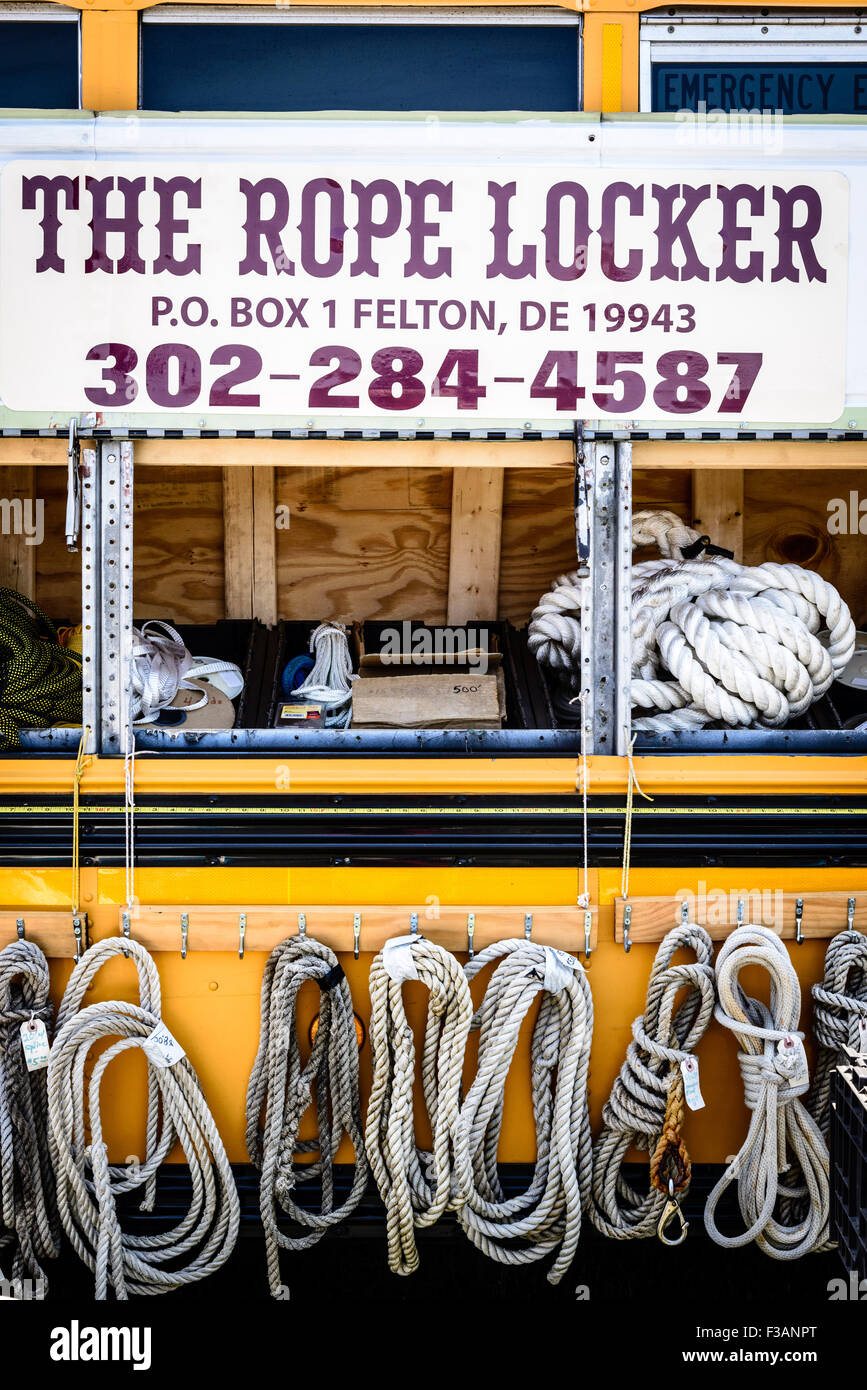 The Rope Locker mobile chandlers in old school bus, Chesapeake Bay Maritime Museum, St. Michaels, Maryland - Stock Image