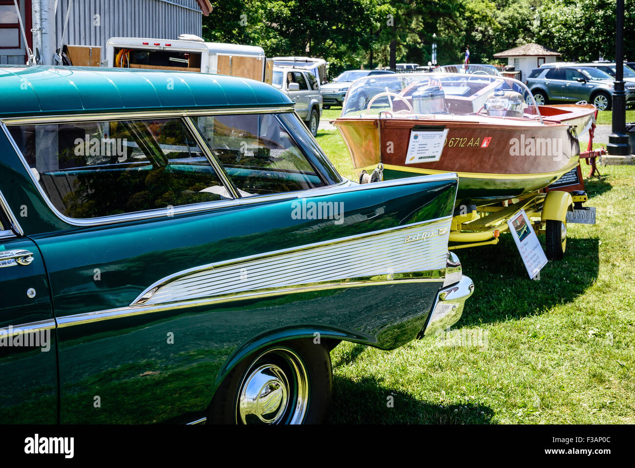 1957 Chevrolet Belair Nomad Towing Whirlwind Wooden Speedboat Chevy Bel Air Chesapeake Bay Maritime Museum St Michaels Maryland