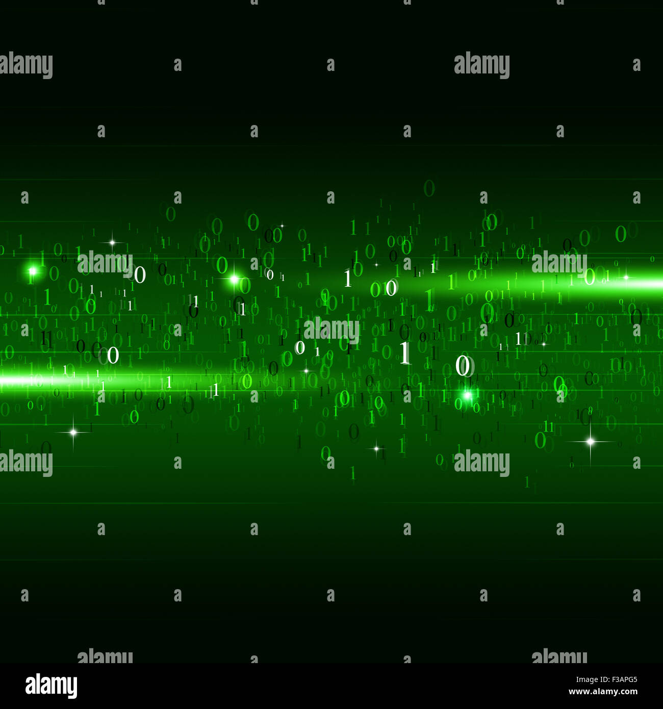 abstract motion binary code numbers concept technology green background - Stock Image