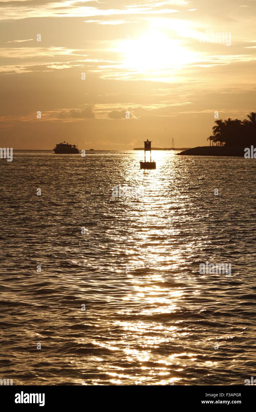 Sunset celebration off Mallory Square, Key West Florida - Stock Image