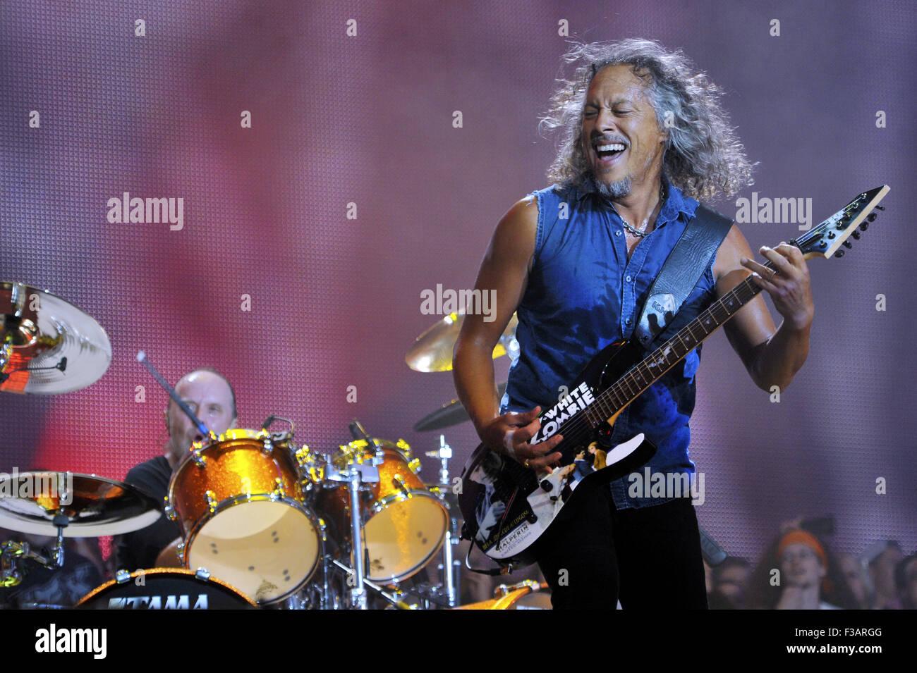 Lollapalooza Festival 2015 - Performances - Metallica  Featuring: Kirk Hammett, Metallica Where: Chicago, Illinois, - Stock Image