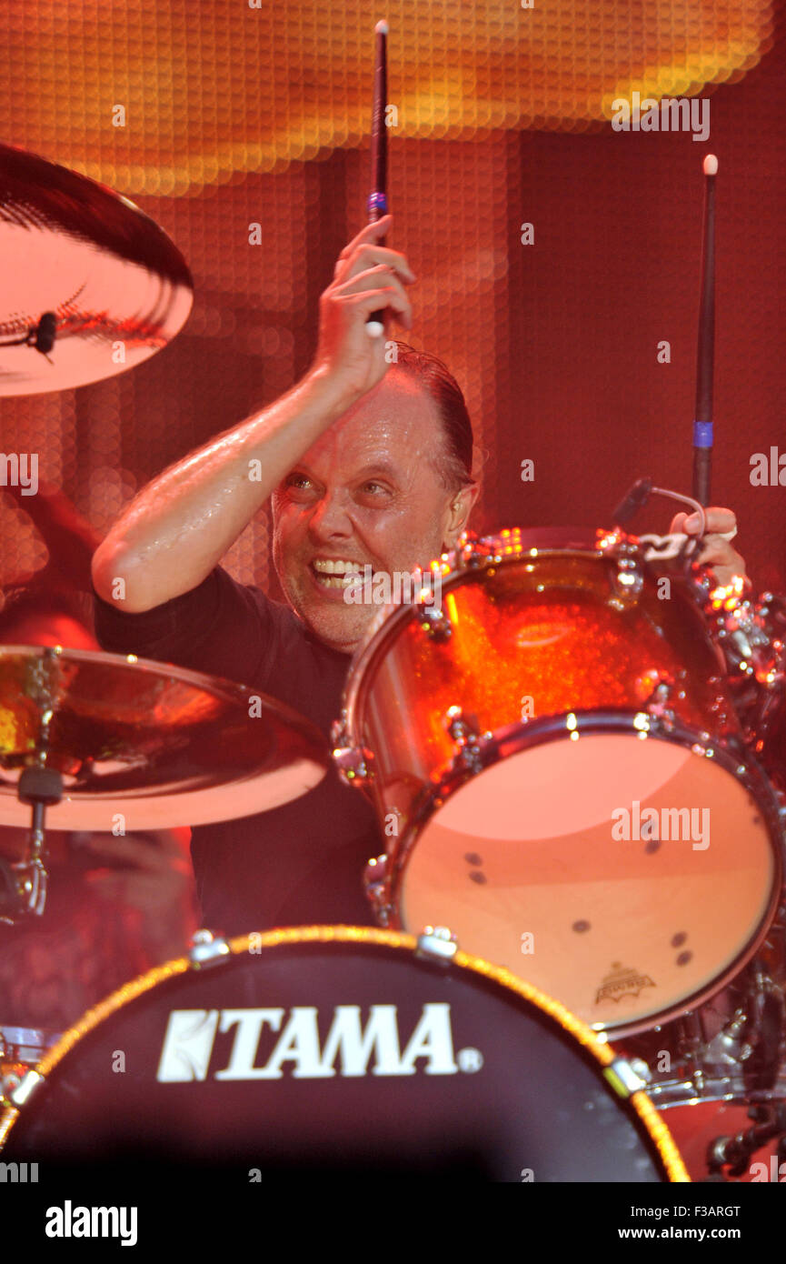 Lollapalooza Festival 2015 - Performances - Metallica  Featuring: Lars Uhlrich, Metallica Where: Chicago, Illinois, - Stock Image