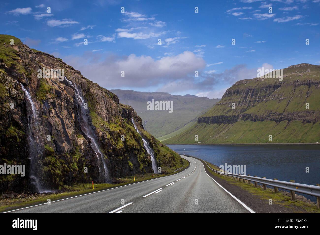 Faroe islands waterfall stock photos faroe islands for River hill
