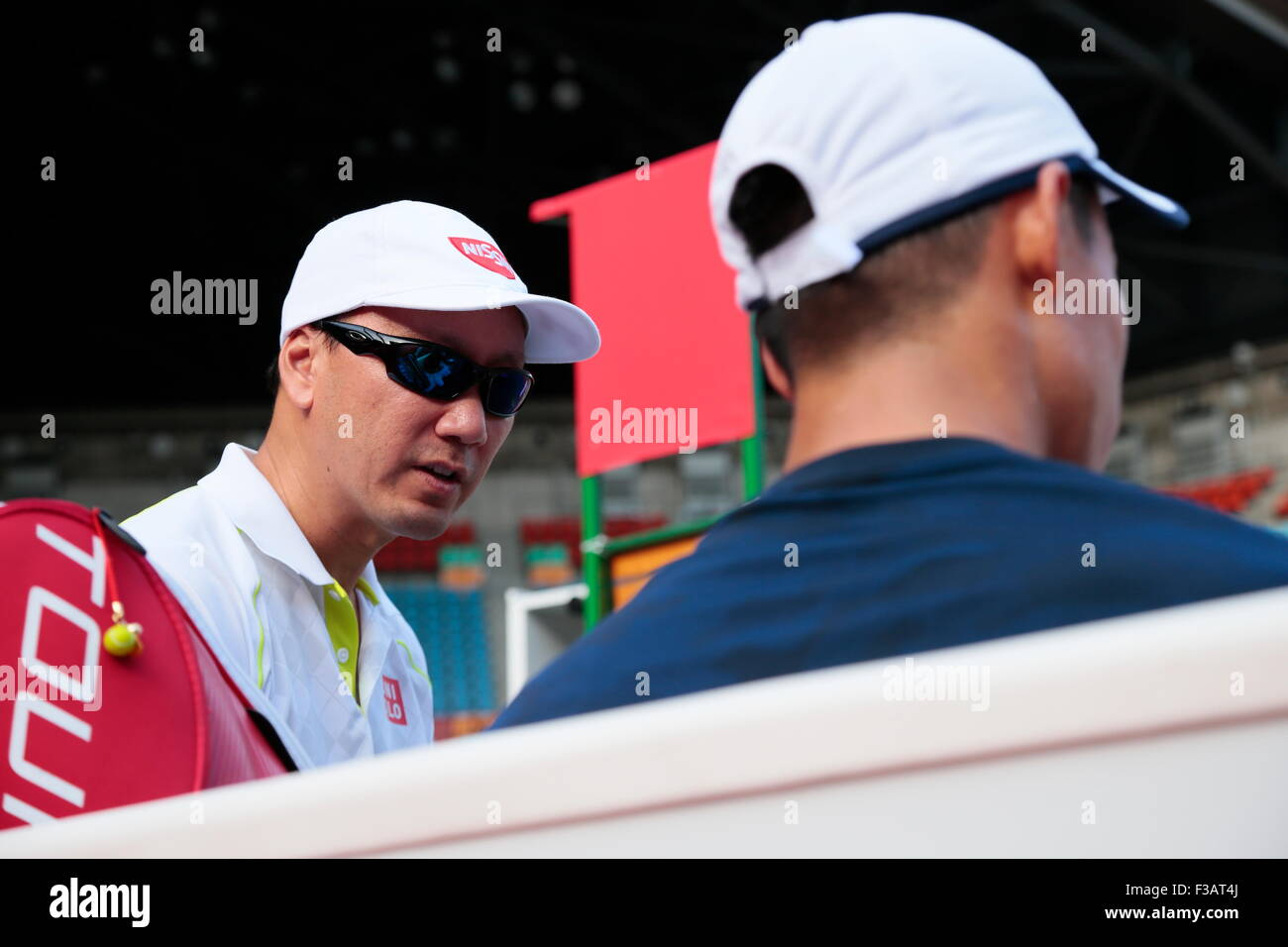 L to R) Michael Chang, Kei Nishikori (JPN), OCTOBER 3, 2015