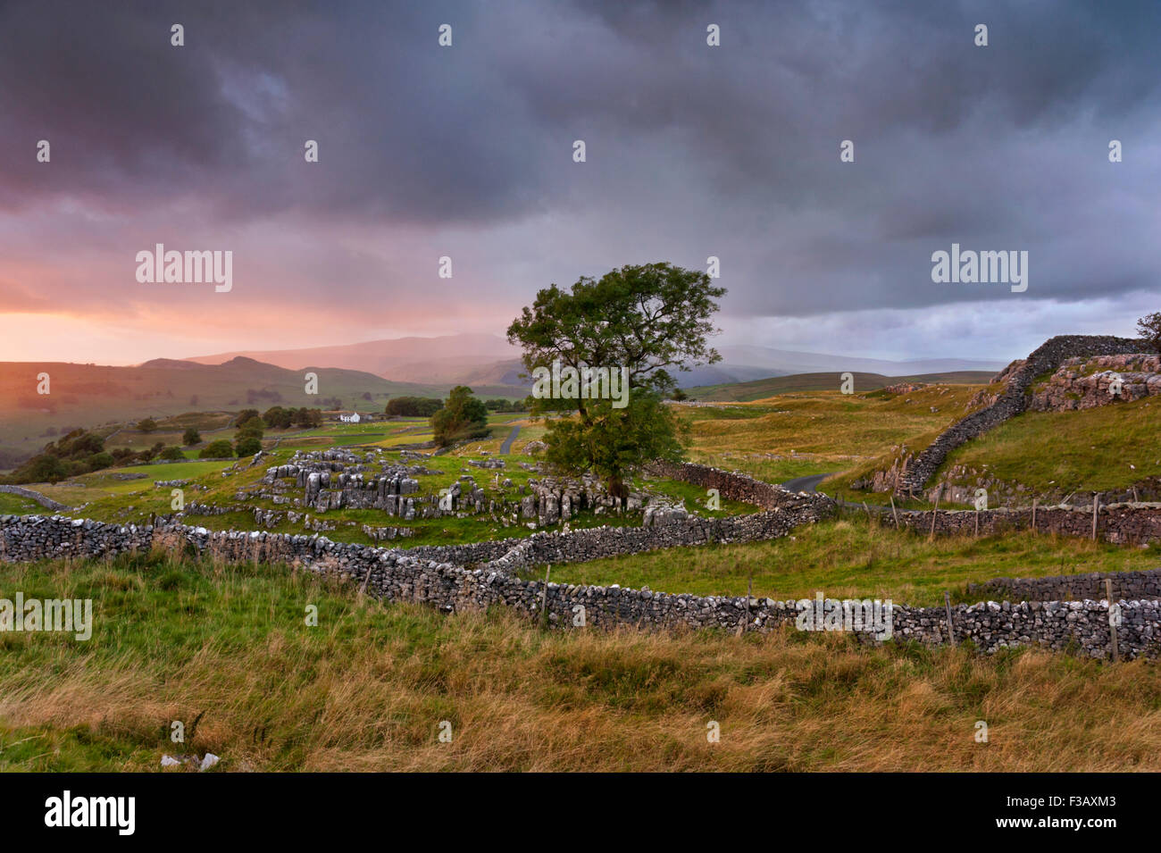 Sunset over Winskill Stones, Langcliffe, near Settle, Yorkshire Dales National Park, UK - Stock Image
