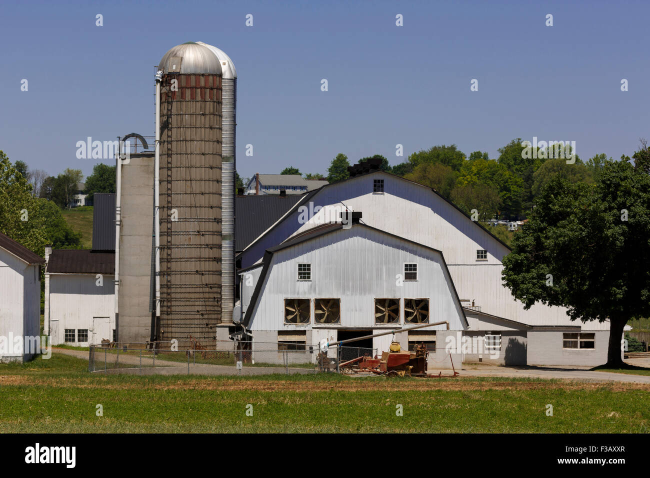 Lancaster County Pennsylvania Amish Farm Silo And Buildings And Equipment