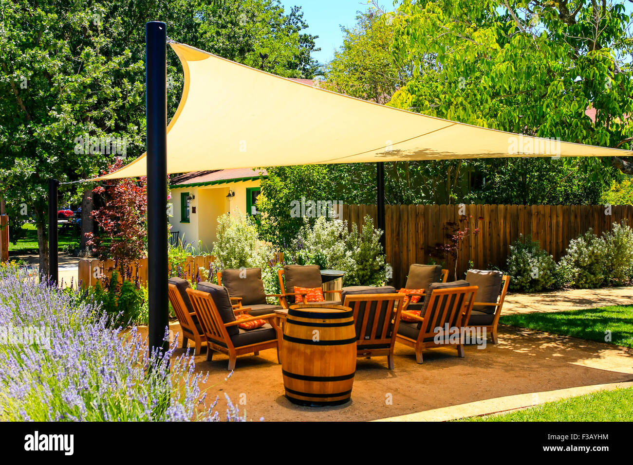 Genial A Covered Garden Deck With Chairs And Throw Pillows In California   Stock  Image