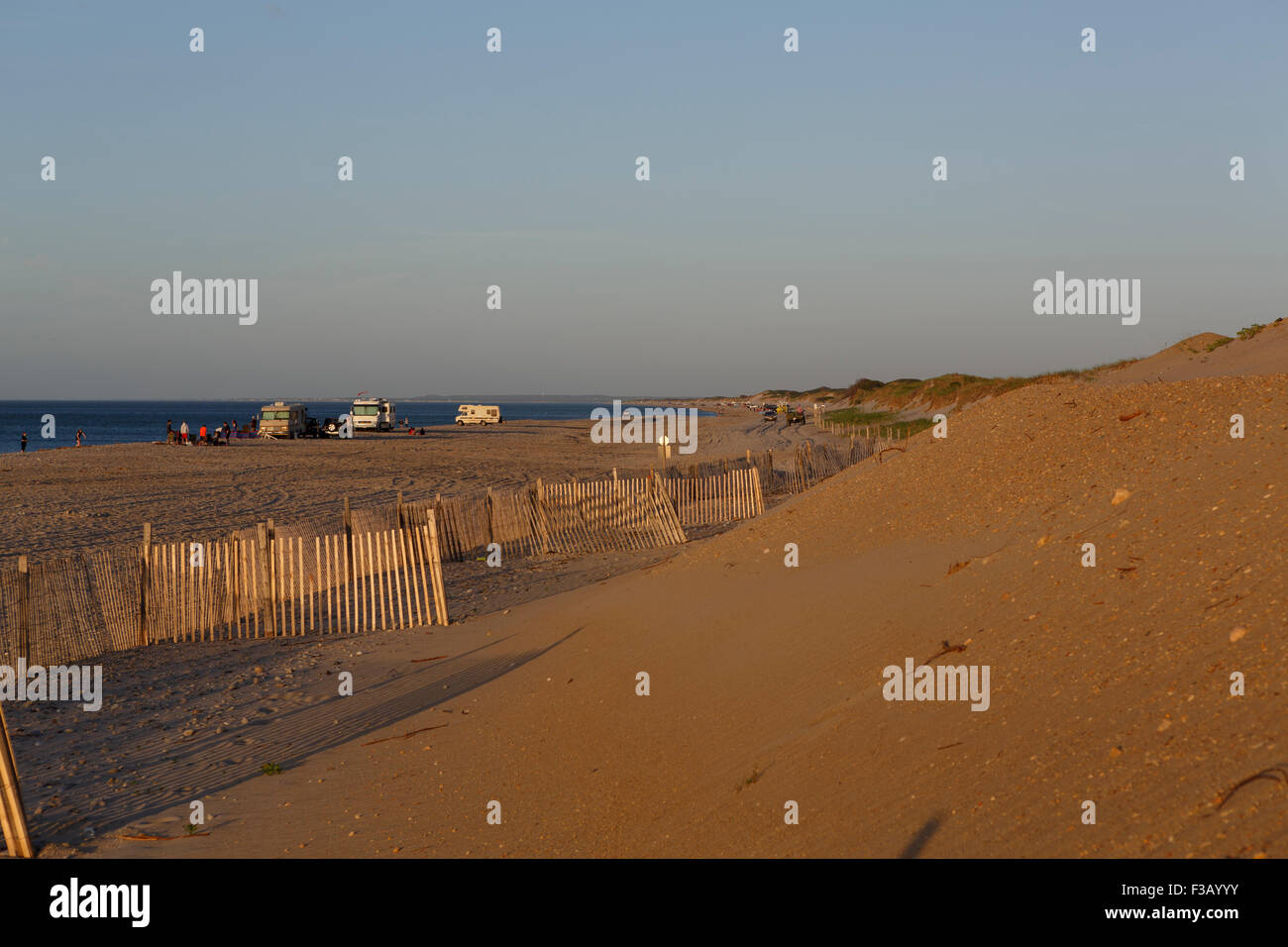 Campervans at Sandy Neck beach Barnstable Cape Cod Massachusetts USA - Stock Image