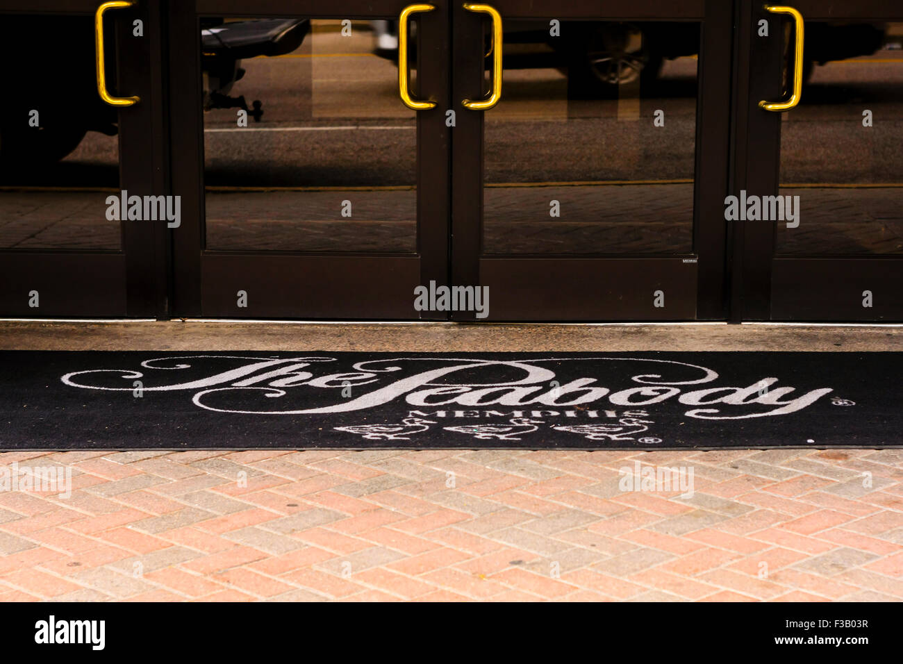 The entrance carpet and doors to the Peabody Hotel in Memphis Tennessee