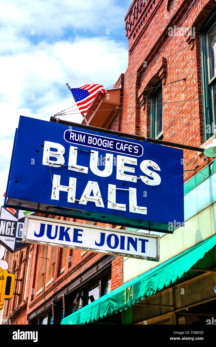 Rum Boogie Cafes Blues Hall and Juke Joint overhead sign on Beale Street in Memphis Tennessee - Stock Image