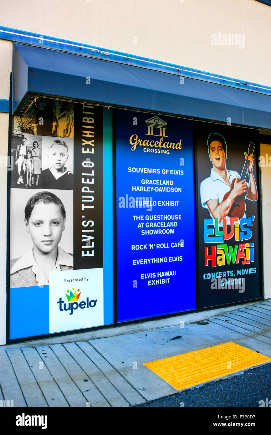 Promotions board advertising Tupelo Mississippi outside of Elvi's home of Graceland in Memphis Tennessee - Stock Image