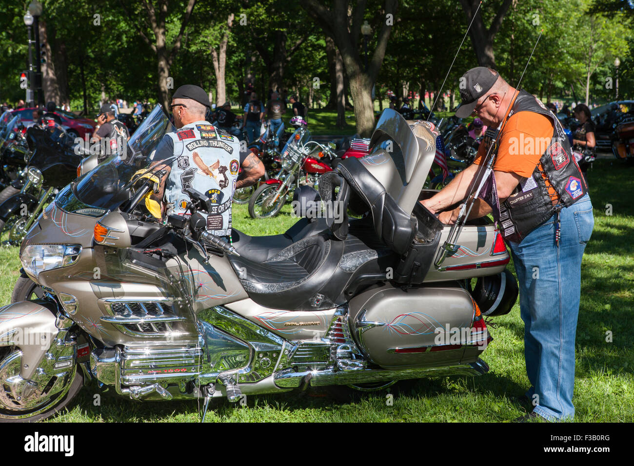 Motorcycle riders near their cycles prior to the Rolling Thunder Ride for Freedom in Washington, DC. - Stock Image
