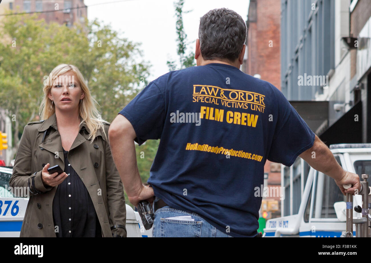 Kelli GIddish on the set of Law & Order: SVU in New York City. Stock Photo