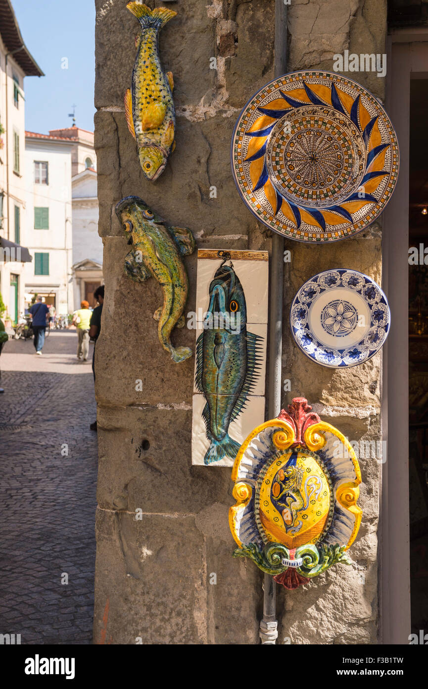Ceramics for sale, Old Town, Lucca, Tuscany, Italy - Stock Image