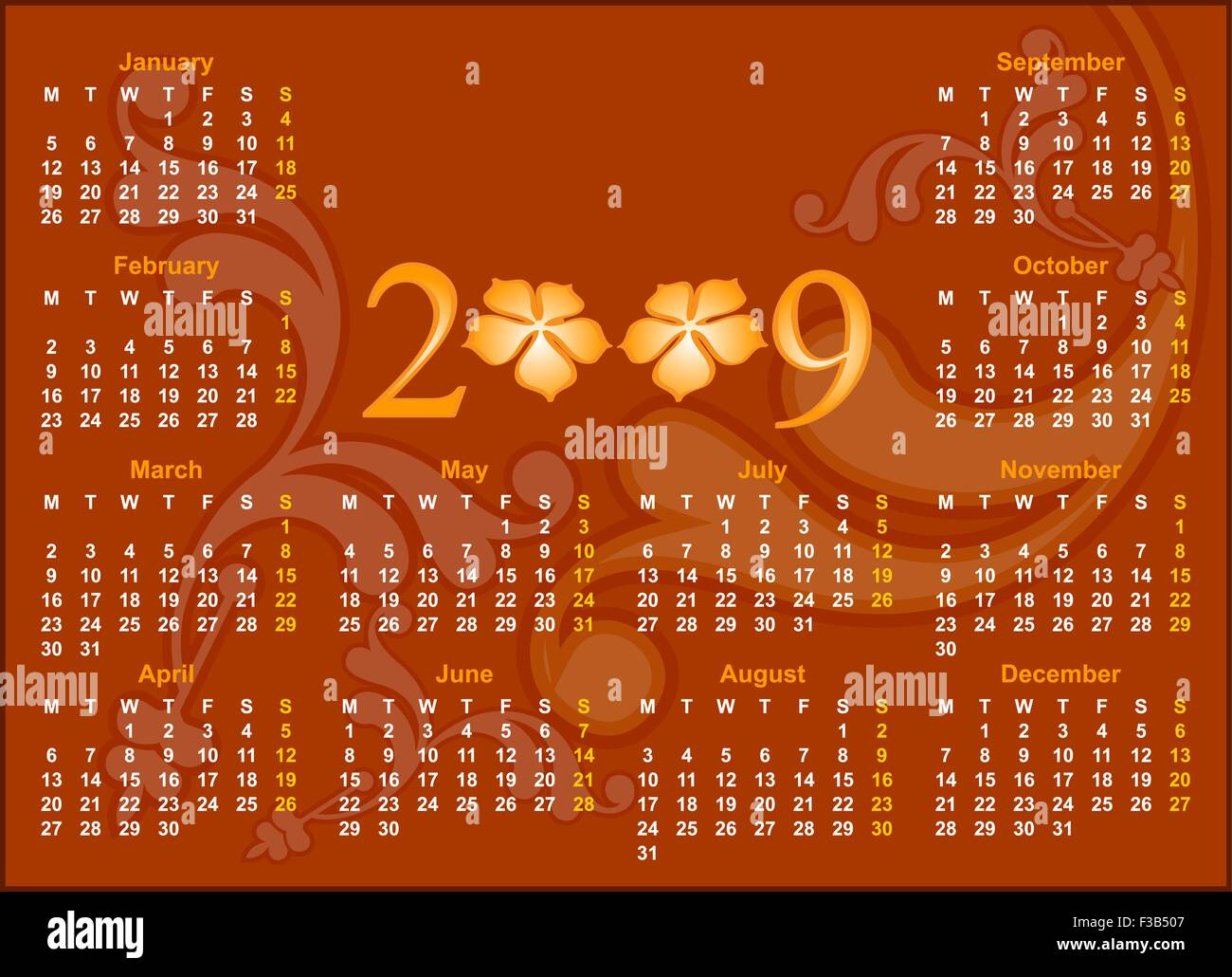Calendar Design 2009 Vector Art - Stock Vector
