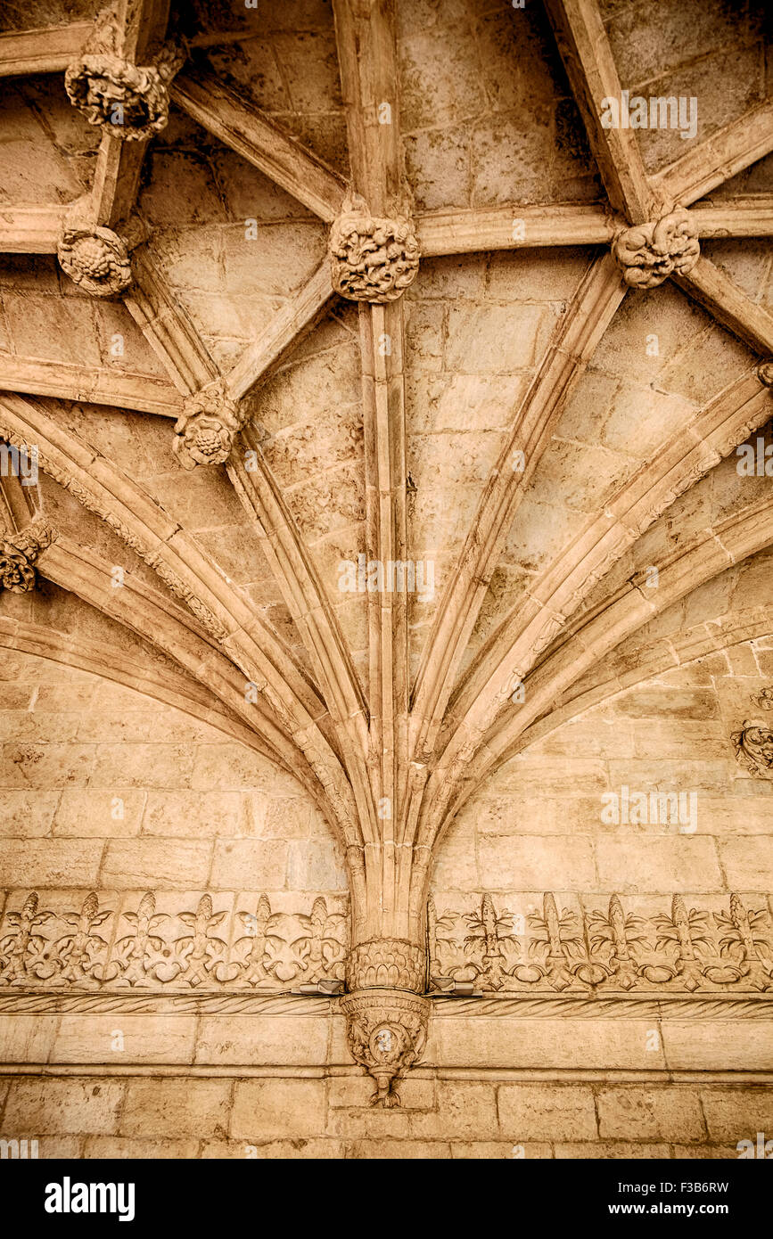 Gothic Ceiling With Ribbed Vaulting - Stock Image