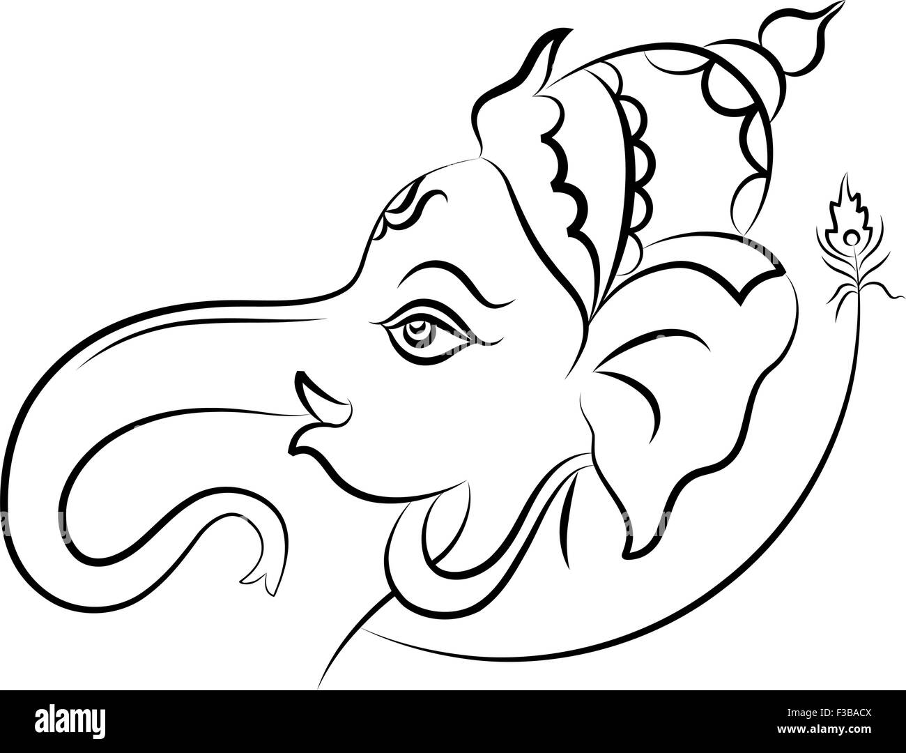 Ganesha the lord of wisdom vector art stock image