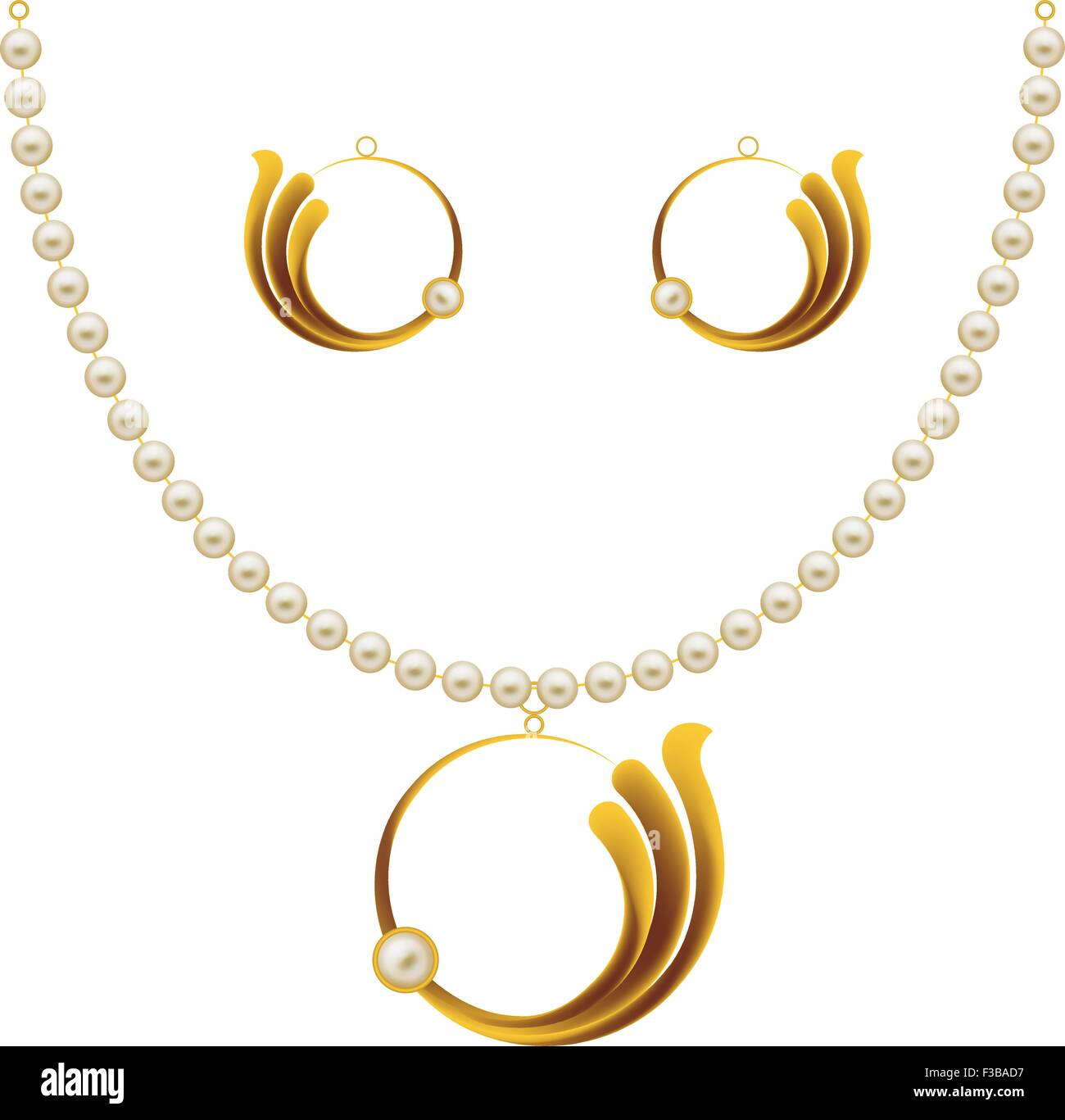 Pearl Gold Jewellery Necklace, Earrings, Pendent Vector Art Stock Vector