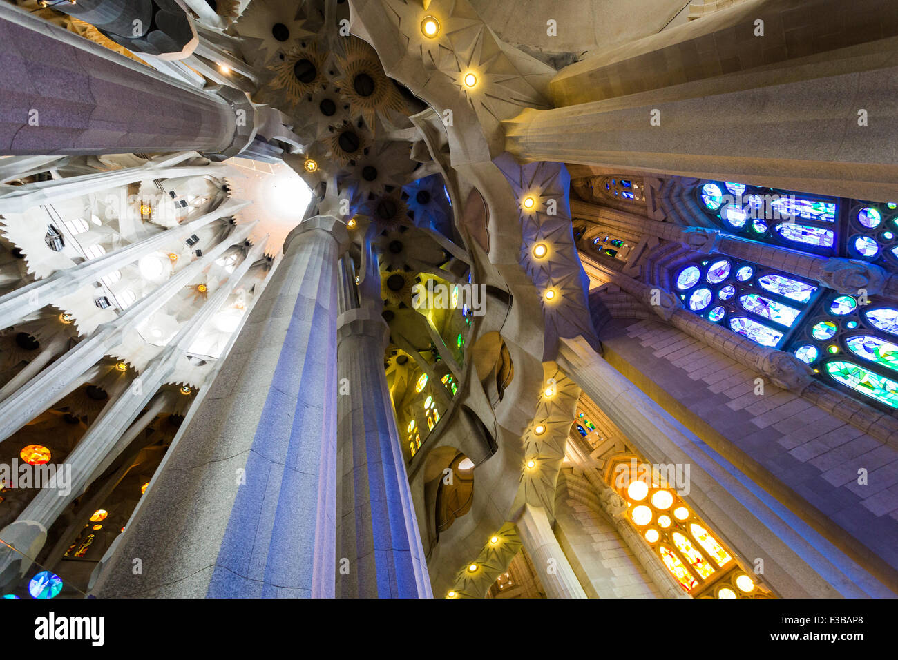 Barcelona, Spain. La Sagrada Familia Interiors, designed by Antonio Gaudi - Stock Image