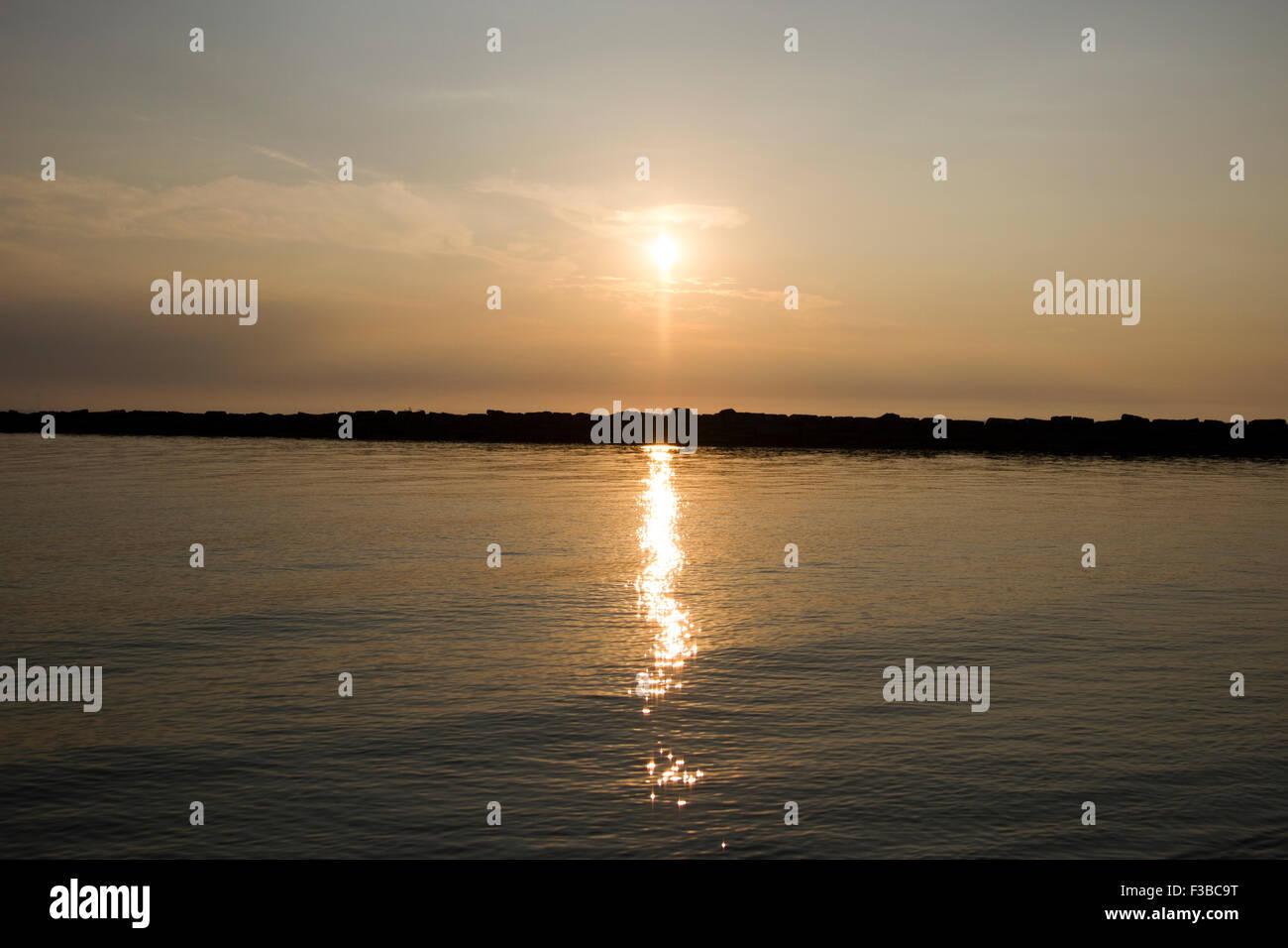Sunset at Lake Erie - Stock Image