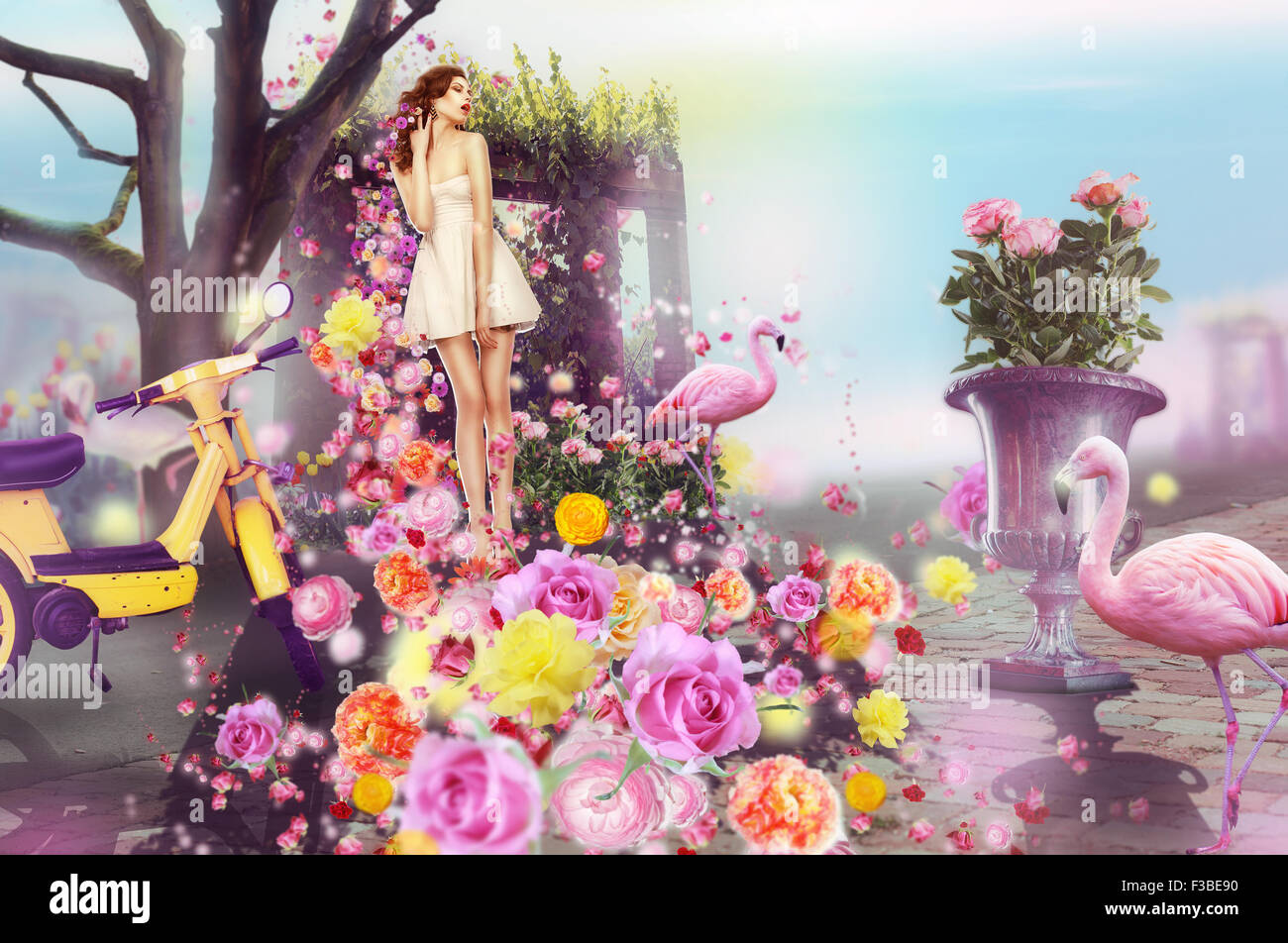 Creative Concept. Visual Arts. Woman and Flowers - Stock Image