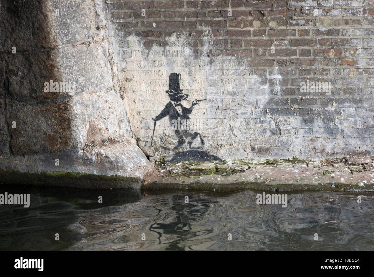 Origianl Banksy Rat stencil on Regent's Canal, December 2009, near Camden Lock Market, Camden Town, England - Stock Image
