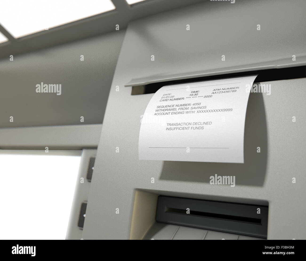 A closeup view of the slip printing section of an atm with a
