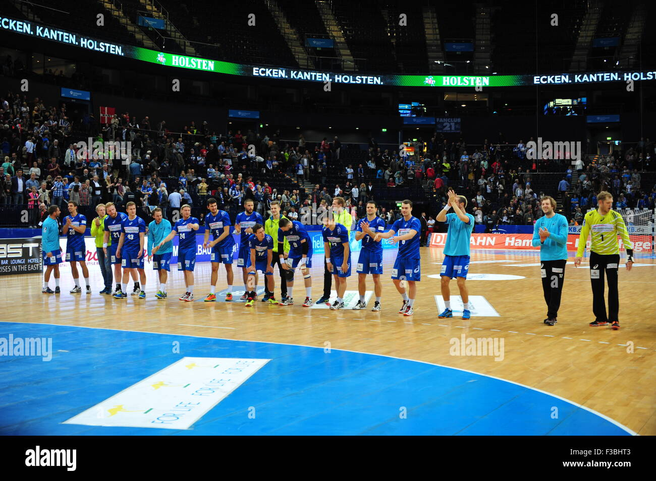 HSV Handball Team after the match against THSV Eisenach (37:23), Barclaycard Arena, Hamburg, Germany. Editorial - Stock Image