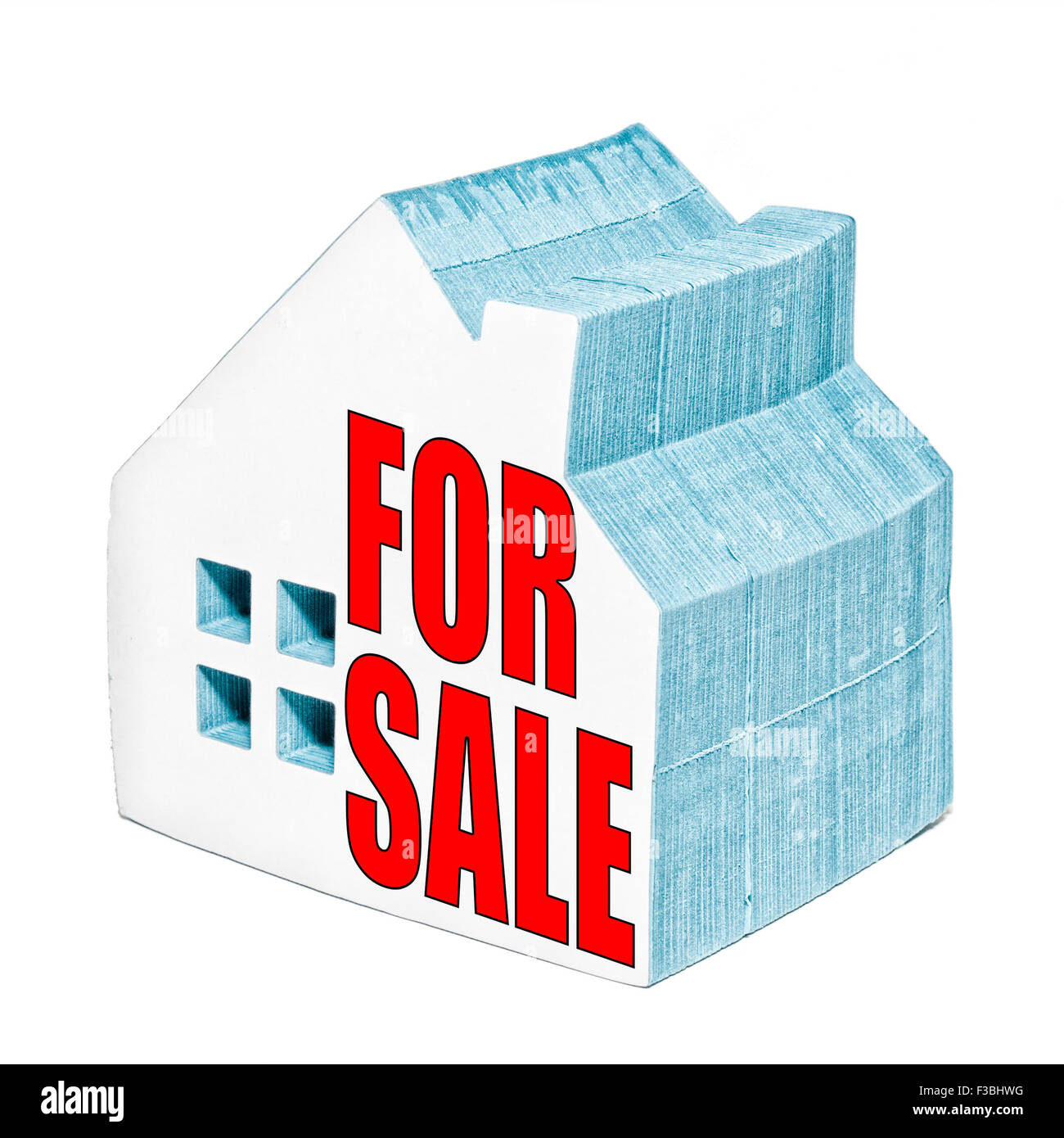 House for sale concept made from a house shaped post it notepad. Stock Photo