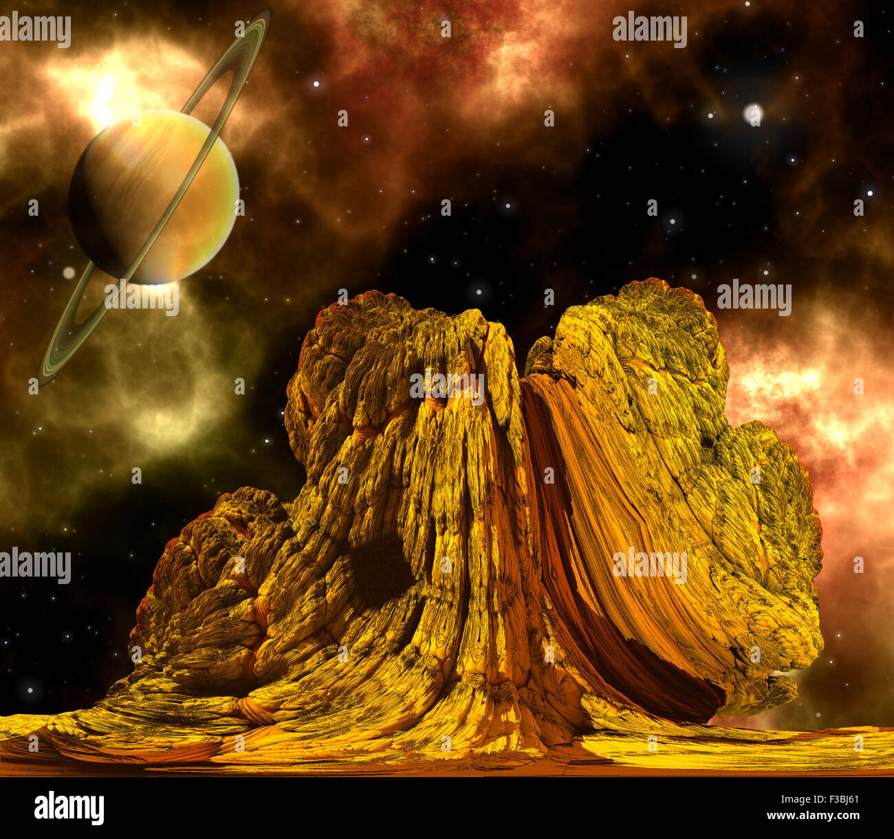 Alien Rock with space background and a brown planet - Stock Image