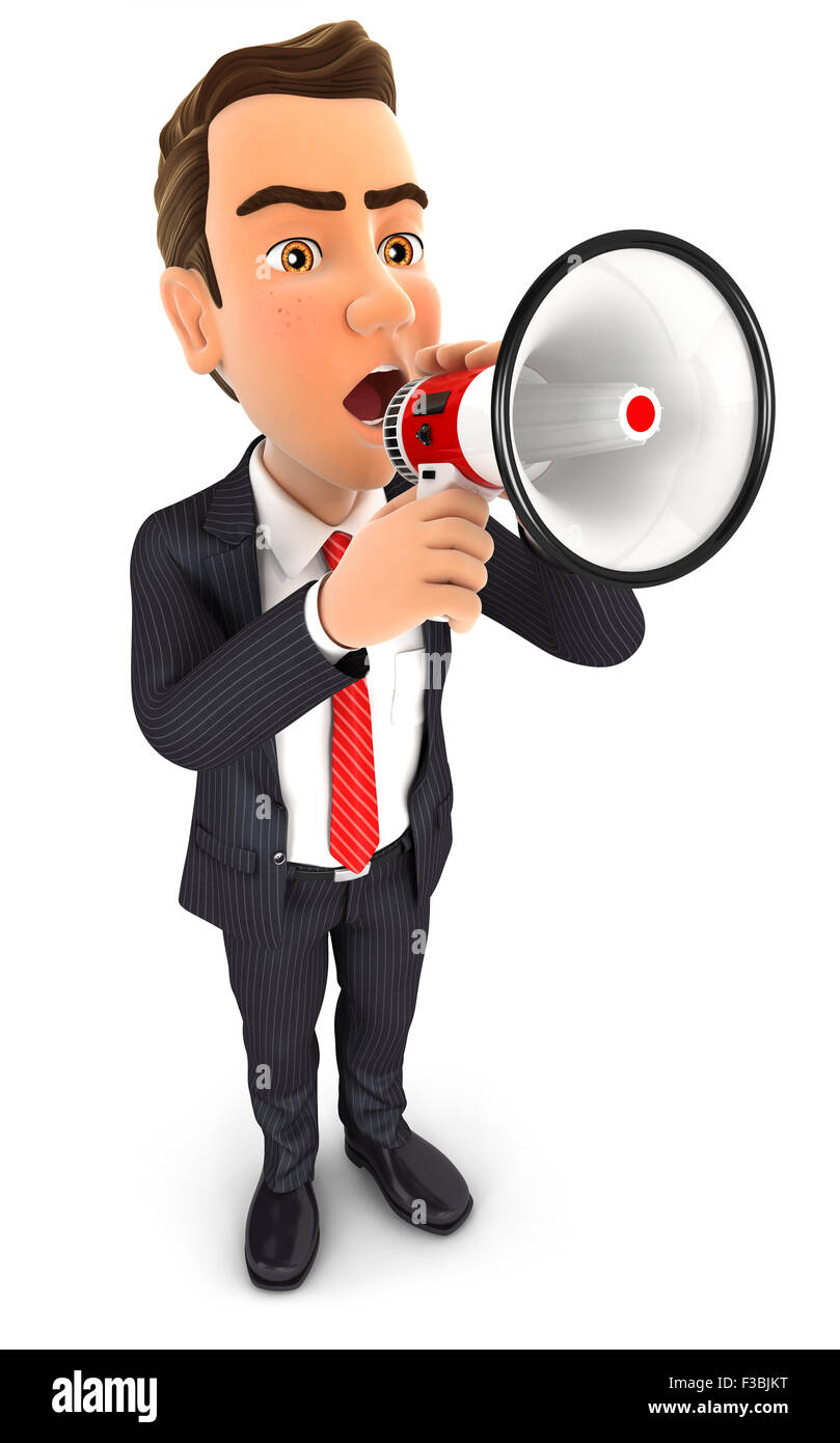 3d businessman speaking in megaphone, isolated white background Stock Photo