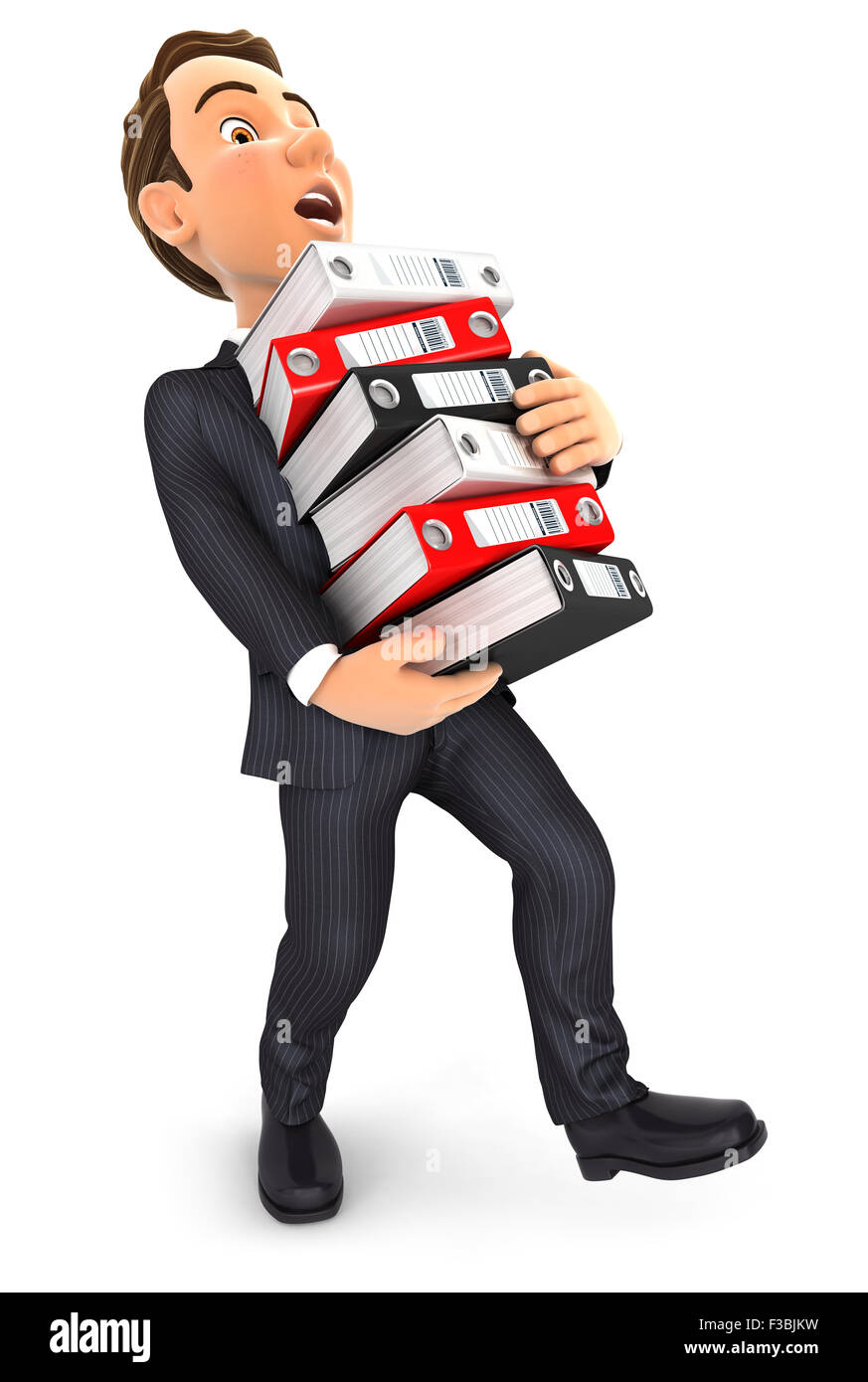 3d businessman overworked holding stack of binders, isolated white background Stock Photo