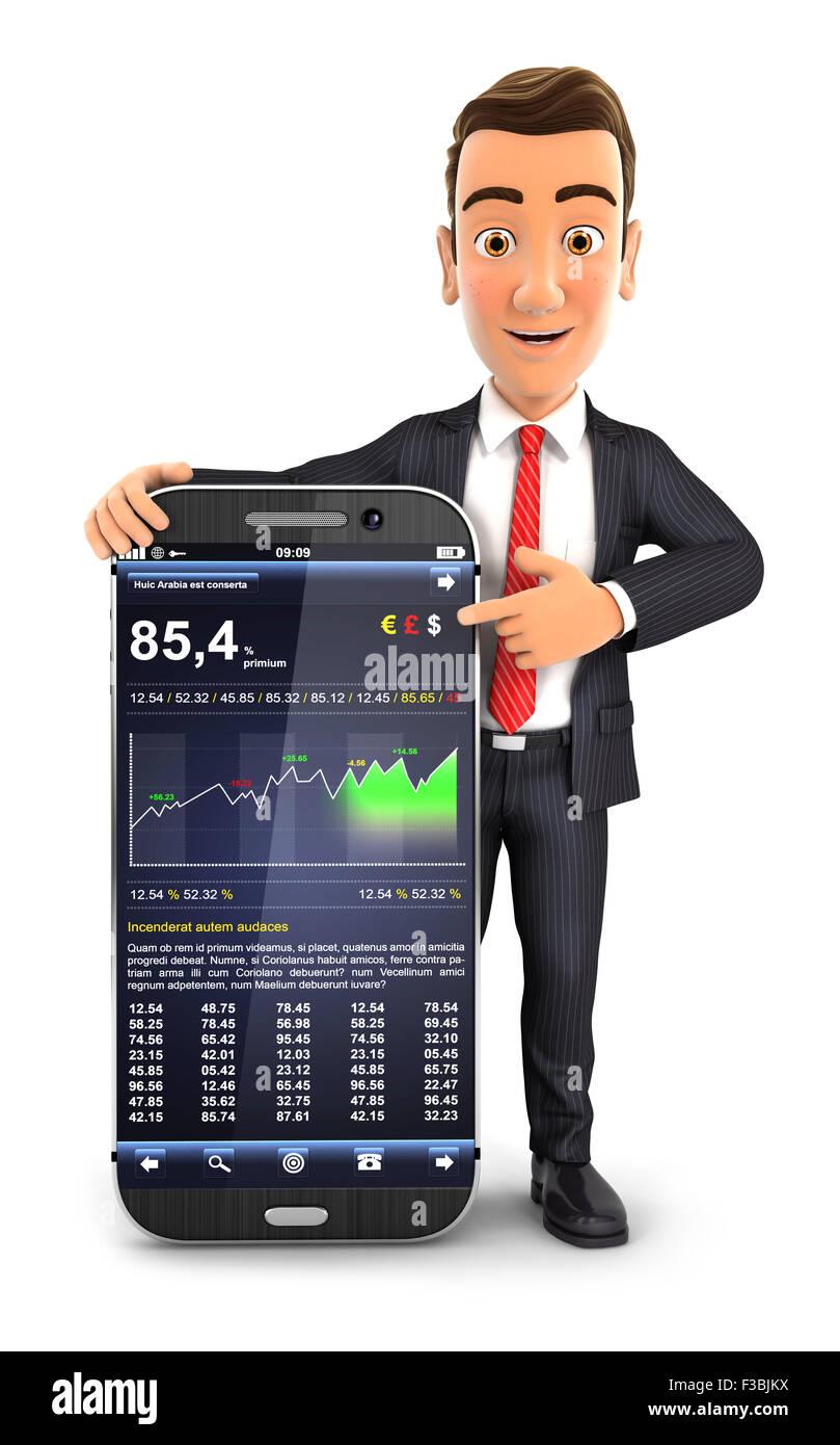 3d businessman statistics smartphone, isolated white background Stock Photo