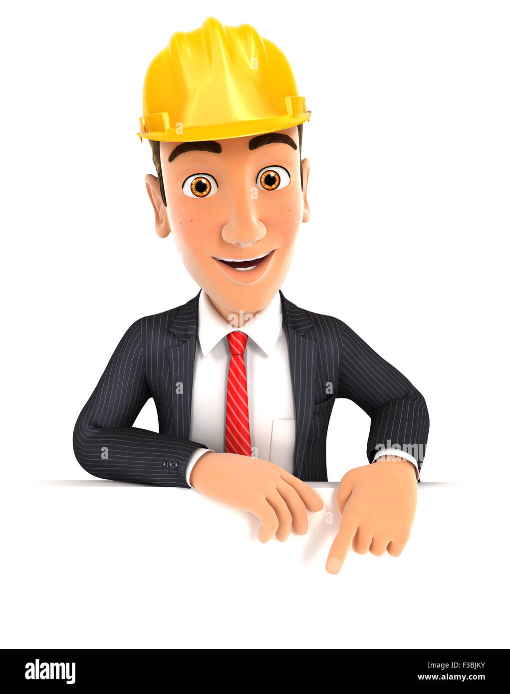 3d foreman pointing to empty wall, isolated white background Stock Photo