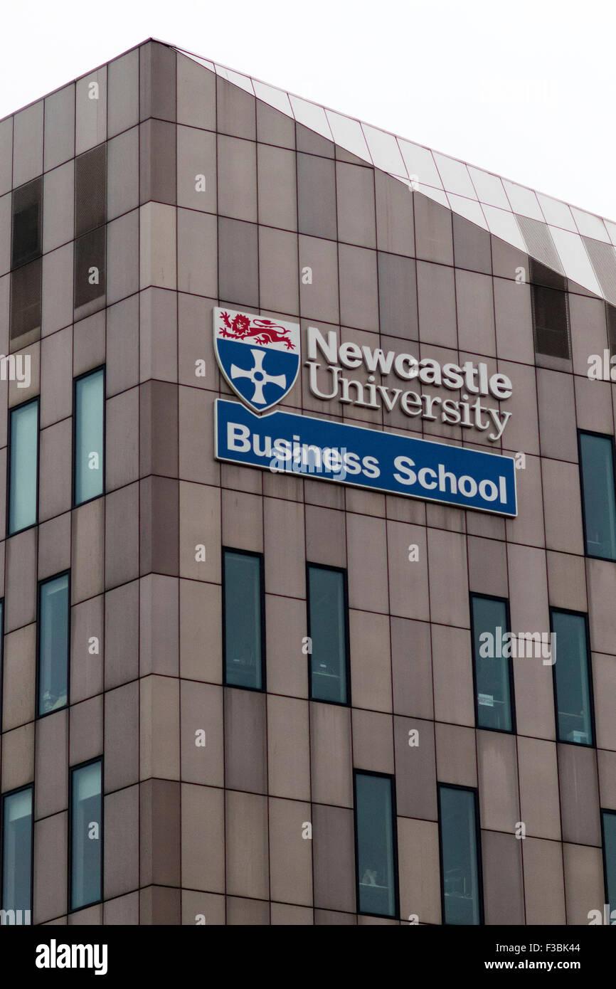 Newcastle University Business school sign logo. - Stock Image