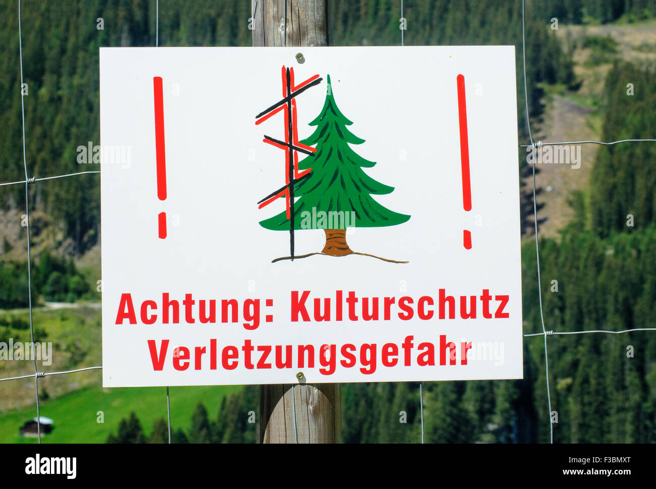 Forestation work, warning sign. Photographed in Austria Stock Photo