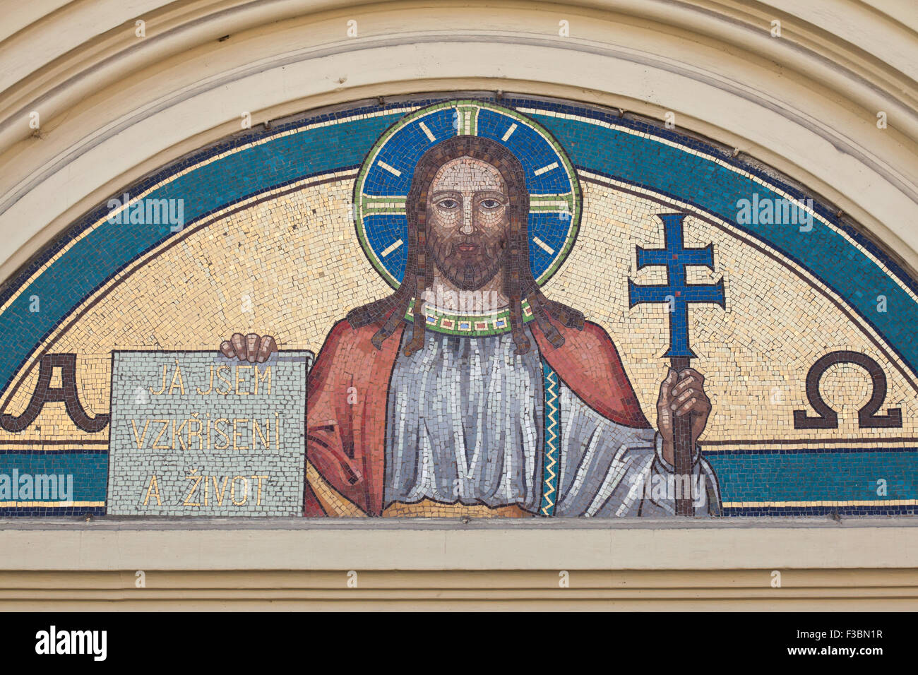 Jesus Christ depicted in the mosaic on the Church of Our Lady of the Rosary in České Budějovice in South Bohemia, Stock Photo