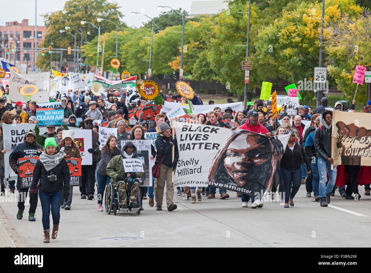 The Detroit March for Justice, which brought together those concerned about the environment, racial justice, and - Stock Image